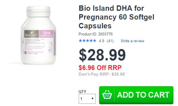 Bio Island DHA for Pregnancy 60 Softgel Capsules