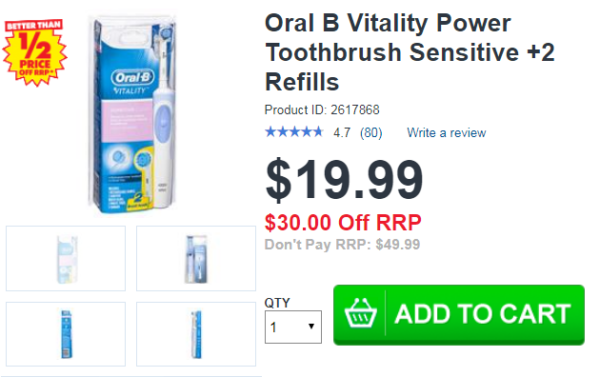 Oral B Vitality Power Toothbrush Sensitive +2 Refills