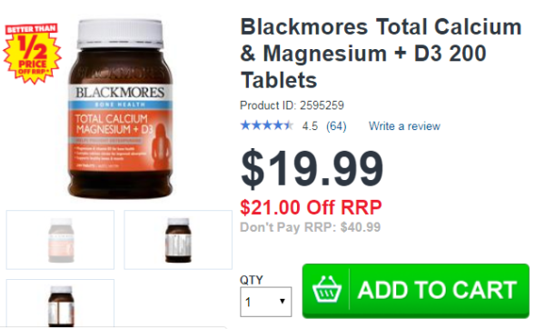 Blackmores Total Calcium & Magnesium + D3 200